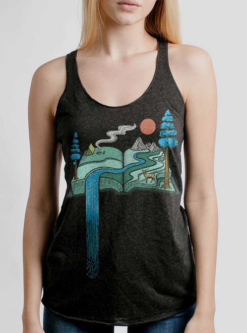 Story Book  - Multicolor on Heather Black Triblend Womens Racerback Tank Top