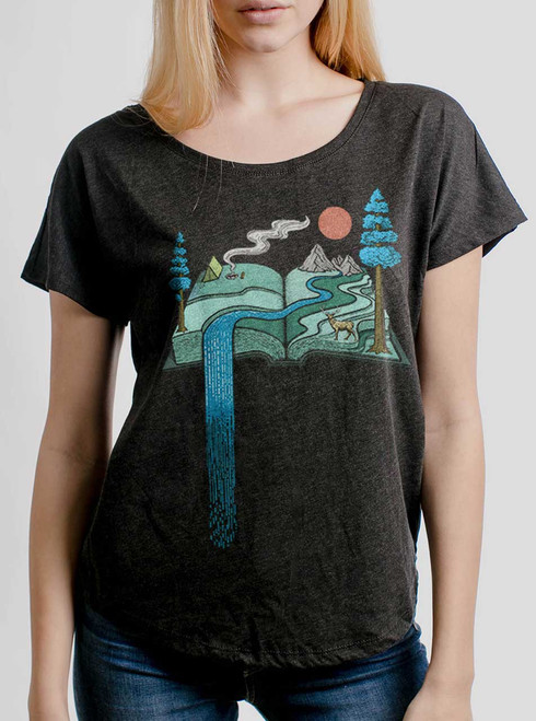 Story Book - Multicolor on Heather Black Triblend Womens Dolman T Shirt