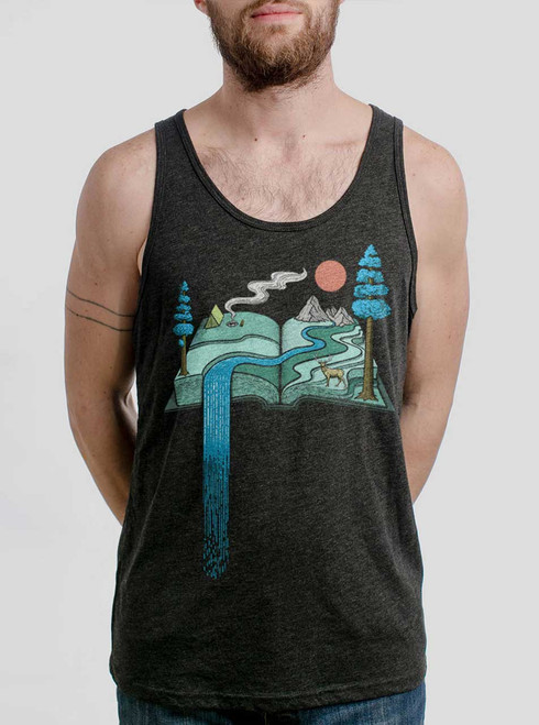 Story Book - Multicolor on Heather Black Triblend Mens Tank Top