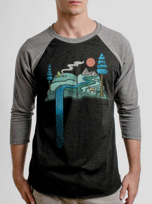Story Book - Multicolor on Heather Black and Grey Triblend Raglan