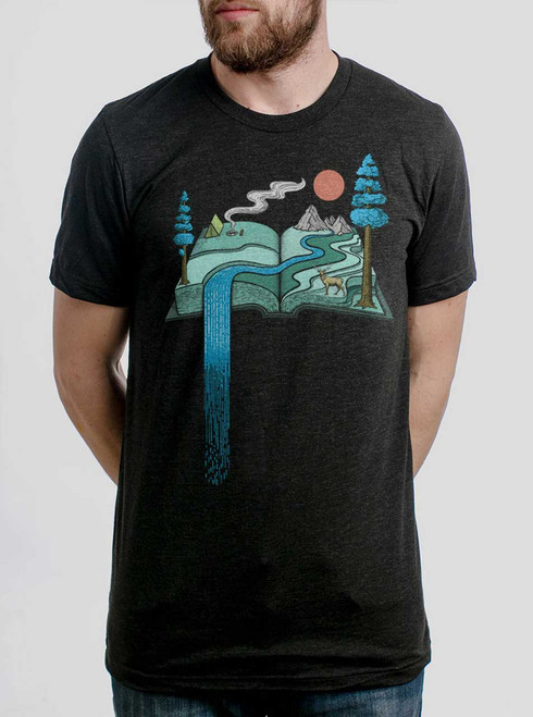 Story Book - Multicolor on Heather Black Triblend Mens T Shirt