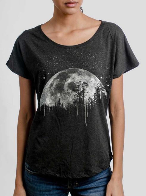 Moon - White on Heather Black Triblend Womens Dolman