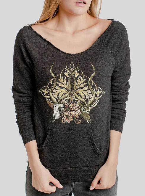 Time Unfurls - Multicolor on Charcoal Triblend Women's Maniac Sweatshirt