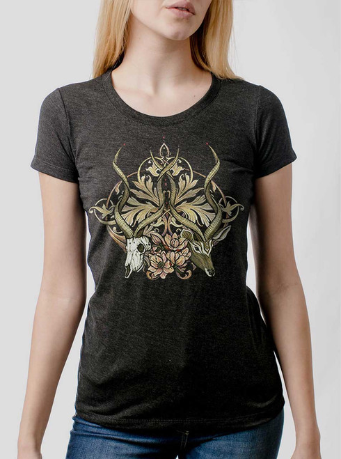 Time Unfurls - Multicolor on Heather Black Triblend Womens T-Shirt