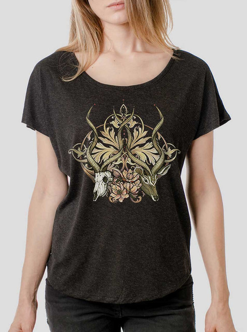 Time Unfurls - Multicolor on Heather Black Triblend Womens Dolman T Shirt