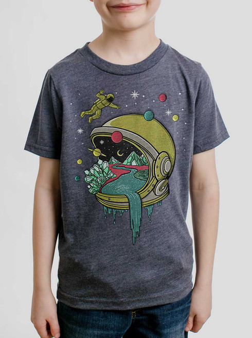 Deep Space - Multicolor on Heather Navy Triblend Youth T-Shirt