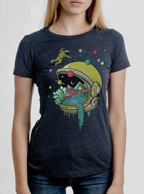 Deep Space - Multicolor on Heather Navy Womens T-Shirt