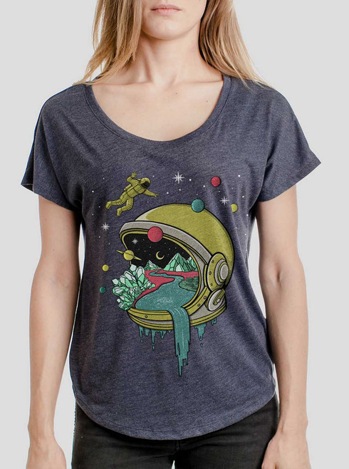 Deep Space - Multicolor on Heather Navy Triblend Womens Dolman T Shirt