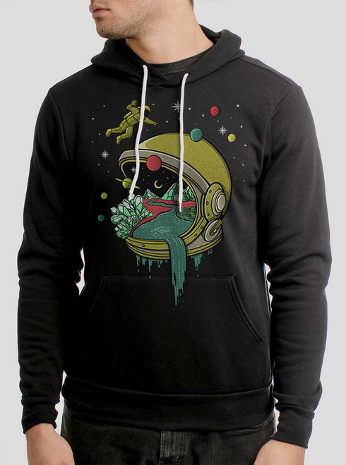 Deep Space - Multicolor on Black Men's Pullover Hoodie