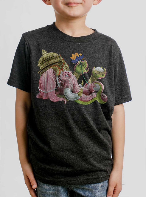 Ganapati - Multicolor on Heather Black Triblend Youth T-Shirt