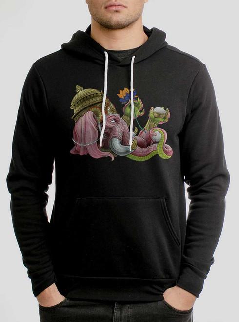 Ganapati - Multicolor on Black Men's Pullover Hoodie