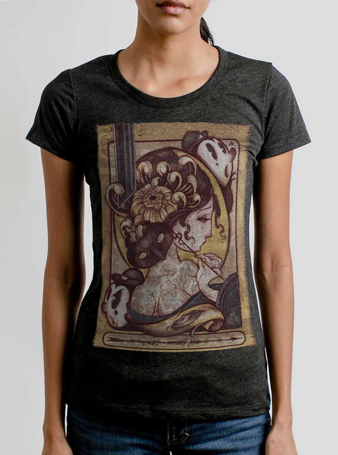 Lady with the Mask - Multicolor on Heather Black Triblend Womens T-Shirt