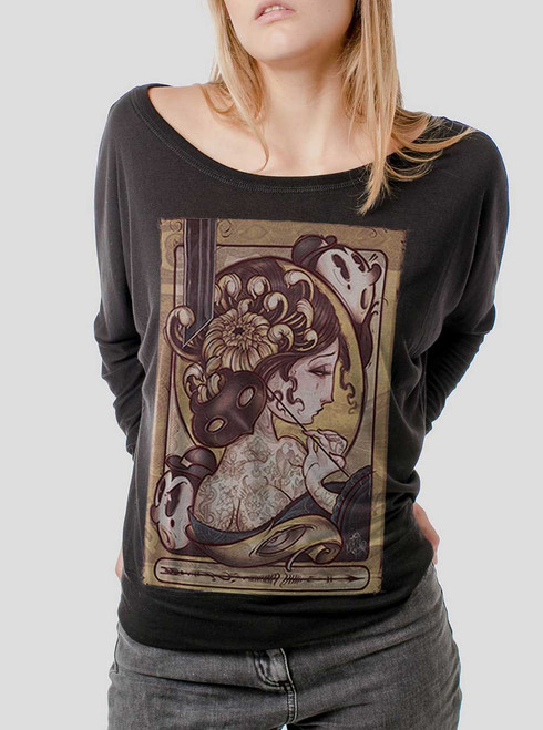 Lady with the Mask - Multicolor on Black Women's Long Sleeve Dolman