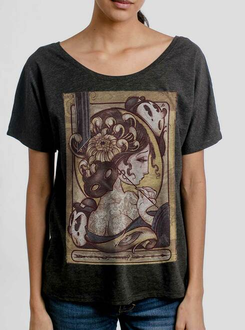 Lady with the Mask - Multicolor on Heather Black Triblend Womens Dolman T Shirt