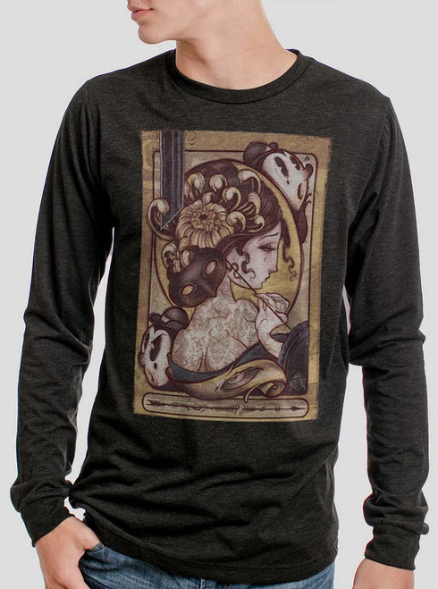 Lady with the Mask - Multicolor on Heather Black Triblend Men's Long Sleeve