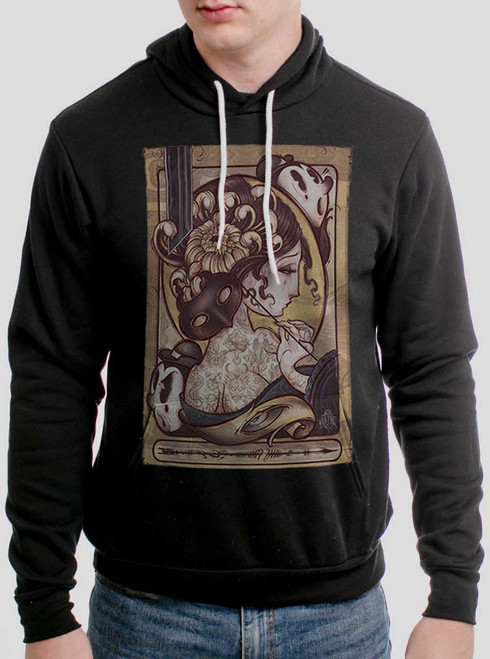 Lady with the Mask - Multicolor on Black Men's Pullover Hoodie