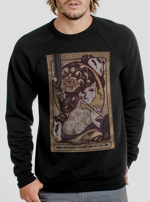 Lady with the Mask - Multicolor on Black Men's Sweatshirt