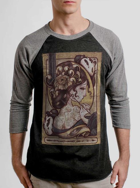 Lady with the Mask - Multicolor on Heather Black and Grey Triblend Raglan
