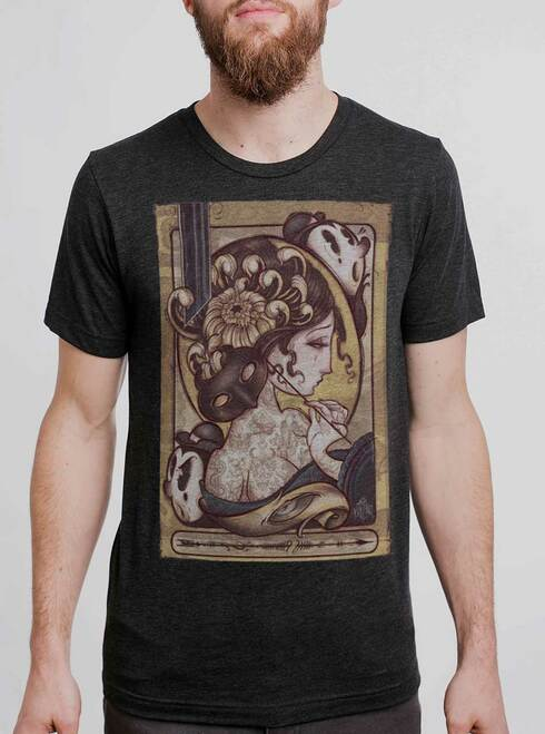 Lady with the Mask - Multicolor on Heather Black Triblend Mens T Shirt
