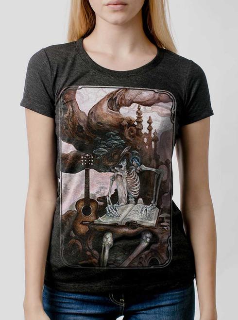 Dead Balladeer - Multicolor on Heather Black Triblend Junior Womens T-Shirt