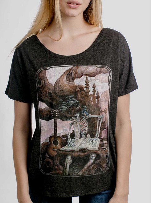 Dead Balladeer - Multicolor on Heather Black Triblend Womens Dolman T Shirt