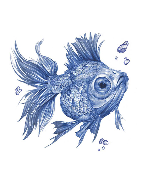 Blue Fish - Blue on Heather Grey Toddler T-Shirt