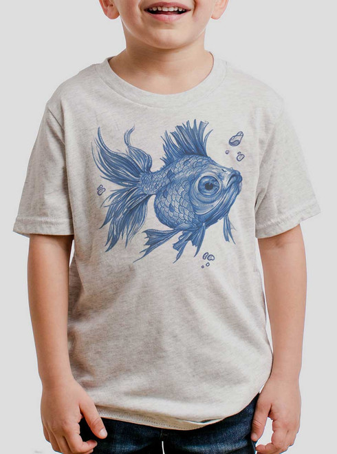 Blue Fish - Blue on Heather White Triblend Youth T-Shirt