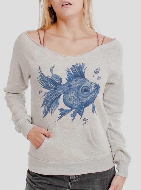 Blue Fish - Blue on Oatmeal Triblend Women's Maniac Sweatshirt