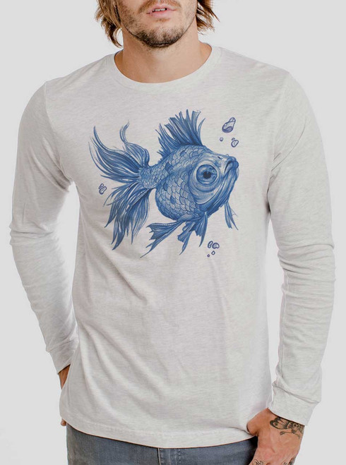 Blue Fish - Blue on Heather White Men's Long Sleeve