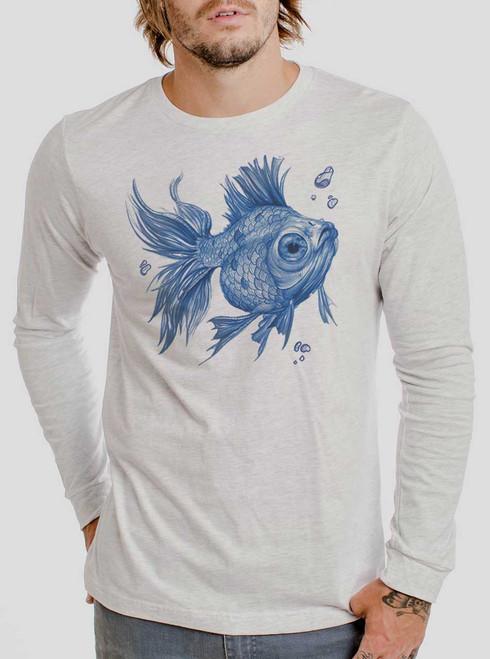 Blue Fish - Blue on Heather White Men's Long Sleeve