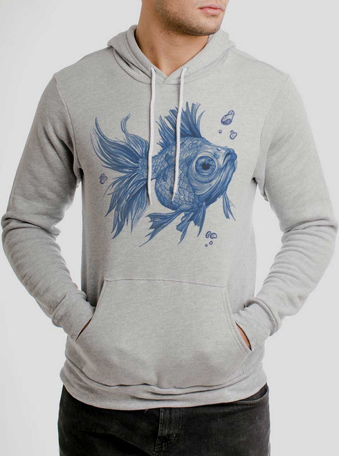 Blue Fish - Blue on Athletic Heather Men's Pullover Hoodie