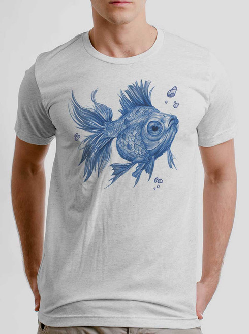 Blue Fish - Blue on Heather White Triblend Mens T Shirt