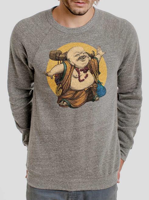 Little Buddha - Multicolor on Heather Grey Triblend Men's Sweatshirt