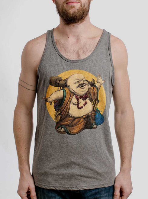 Little Buddha - Multicolor on Heather Grey Triblend Mens Tank Top