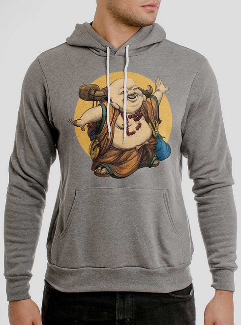 Little Buddha - Multicolor on Heather Grey Men's Pullover Hoodie