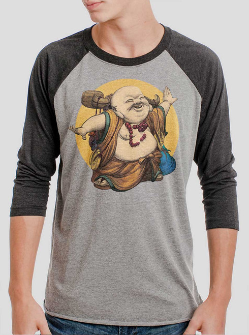 Little Buddha - Multicolor on Heather Grey and Black Triblend Raglan