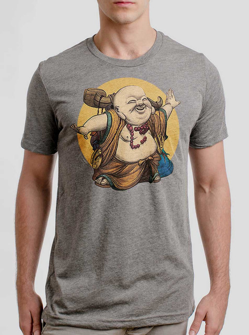 Little Buddha - Multicolor on Heather Grey Triblend Mens T Shirt