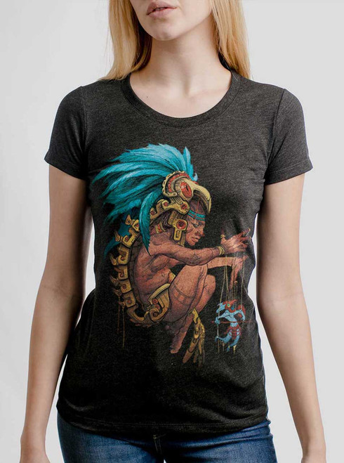 Azteca - Multicolor on Heather Black Triblend Womens T-Shirt