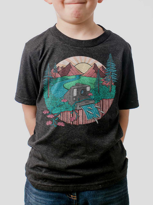 Snap Shot - Multicolor on Heather Black Triblend Youth T-Shirt