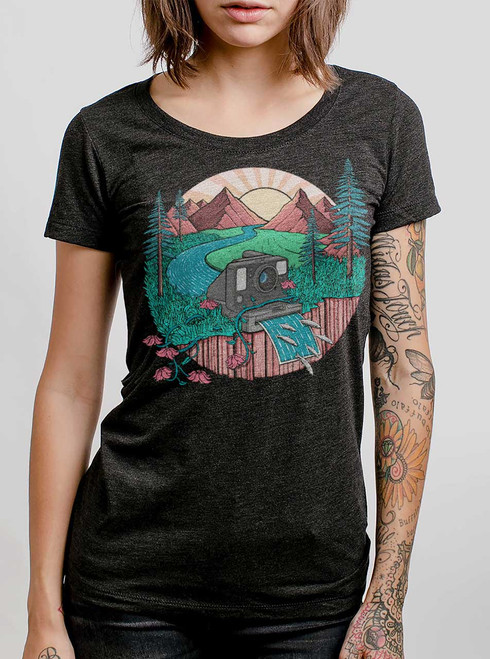 Snap Shot - Multicolor on Heather Black Triblend Womens T-Shirt