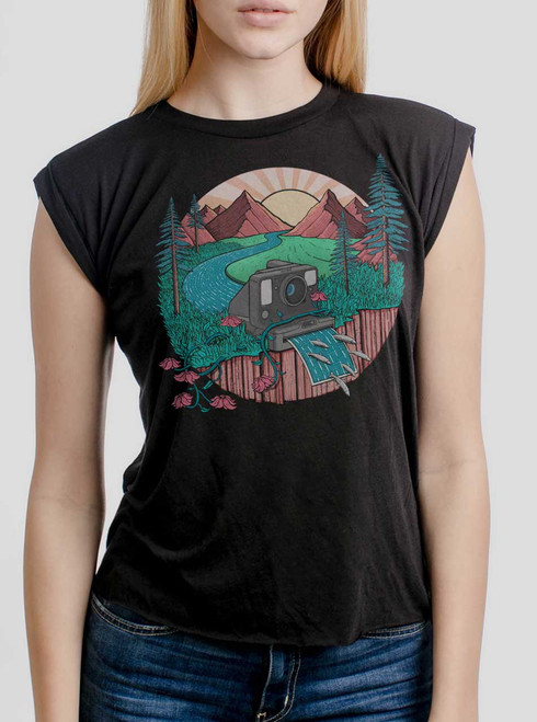 Snap Shot - Multicolor on Black Women's Rolled Cuff T-Shirt