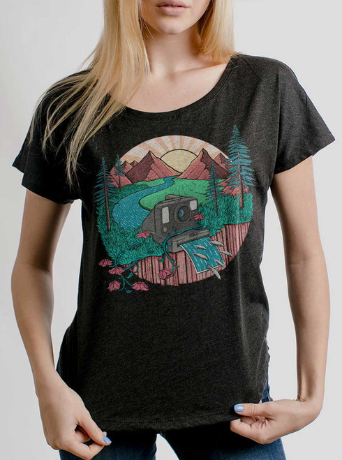Snap Shot - Multicolor on Heather Black Triblend Womens Dolman T Shirt