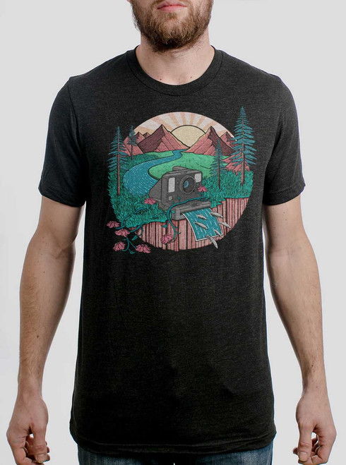 Snap Shot - Multicolor on Heather Black Triblend Mens T Shirt