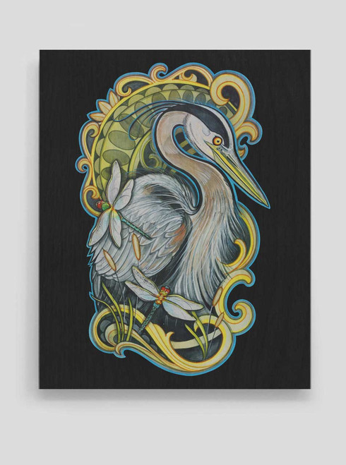 Blue Heron - 8 x 10 Wood Print