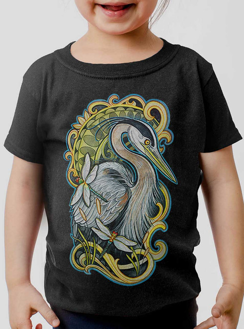 Blue Heron - Multicolor on Black Toddler T-Shirt