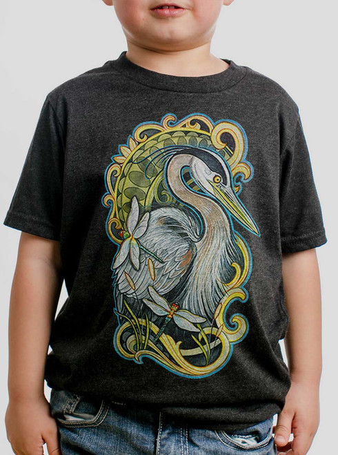 Blue Heron - Multicolor on Heather Black Triblend Youth T-Shirt