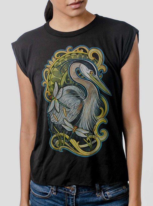 Blue Heron - Multicolor on Black Women's Rolled Cuff T-Shirt