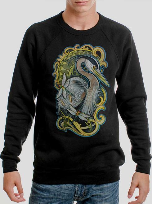 Blue Heron - Multicolor on Black Men's Sweatshirt