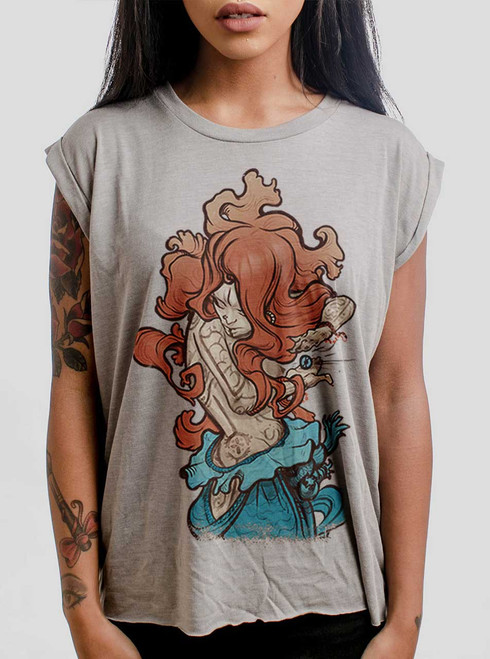 Gypsy - Multicolor on Heather Stone Women's Rolled Cuff T-Shirt