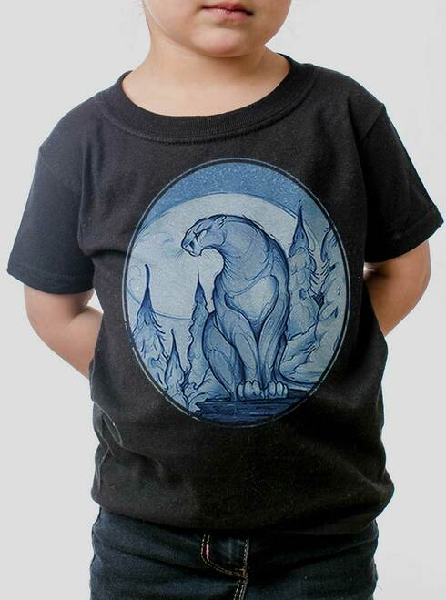 Mountain Lion - Multicolor on Black Toddler T-Shirt